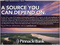 Pinnacle Bank Advertisement.  Contributed photograph. - Tear Sheet Photograph