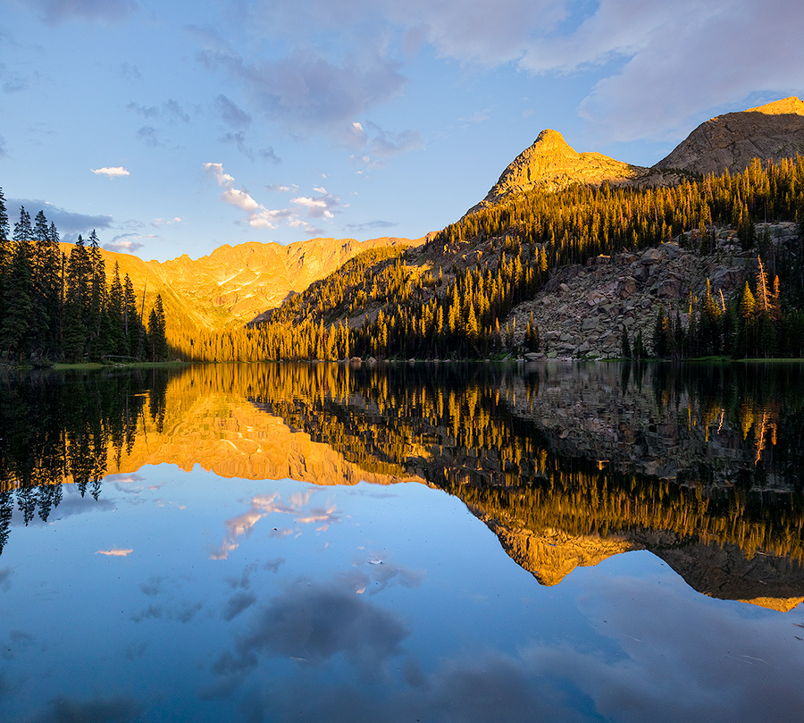 Landscape photograph of sunset on Spirit Lake in Rocky Mountain National Park, Colorado. - Colorado Photography