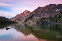 Nestled under Andrews Peak, dusk falls on the beautiful Nanita Lake in the backcountry of Rocky Mountain National park. - Colorado Landscape Photograph