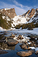 A snowy Dream Lake and Hallett Peak in Rocky Mountain National Park, Colorado. - Colorado Photograph