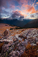 There was a chill in the air as evening descended across Rocky Mountain National Park.  From the treeless tundra, the view of the valley was uninhibited while the clouds rolled across the tips of the mountains.  It is during these times I fully comprehend the feelings described by John Denver in his songs. - Colorado Photograph
