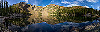 Deep in the backcountry of Rocky Mountain National Park, the mountains surrounding Lake Nokoni, sky and clouds reflect in the clear water. - Colorado Scenic Photograph Photograph