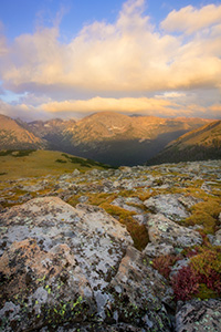 The first light of day illuminates Terra Tomah mountain in Rocky Mountain National Park, Colorado. - Colorado Photograph