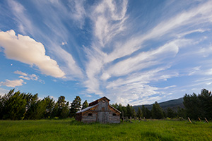 Landscape photograph of an old rustic barn at sunset in Rocky Mountain National Park, Colorado. - Colorado Landscape Photograph