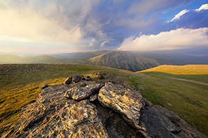 For almost an hour I watched as the clouds danced along the tops of the Mummy Range in the northern area of Rocky Mountain National Park.  The sun slowly set in the west casting long shadows along the tundra. - Colorado Photograph