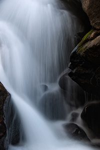 Water flows over the rocks at Cascade Falls on the North Inlet Stream in Rocky Mountain National Park, Colorado. - Colorado Nature Photograph