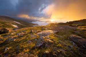 A photograph of a beautiful sunrise on the tundra landscape of Rocky Mountain National Park in Colorado. - Colorado Landscape Photograph