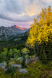 After a brief rainfall, on a cool autumn evening the last  bit of sun illuminates the peak of Long's Peak in Rocky Mountain National Park. - Colorado Landscape Photograph