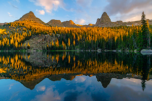 Landscape photograph of sunset on Spirit Lake in Rocky Mountain National Park, Colorado. - Colorado Landscape Photograph