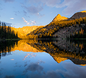 Scenic landscape photograph of Spirit Lake in the backcountry of Rocky Mountain National Park, Colorado. - Colorado Landscape Photograph