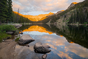 Scenic landscape photograph of Lake Verna in the backcountry of Rocky Mountain National Park, Colorado. - Colorado Landscape Photograph