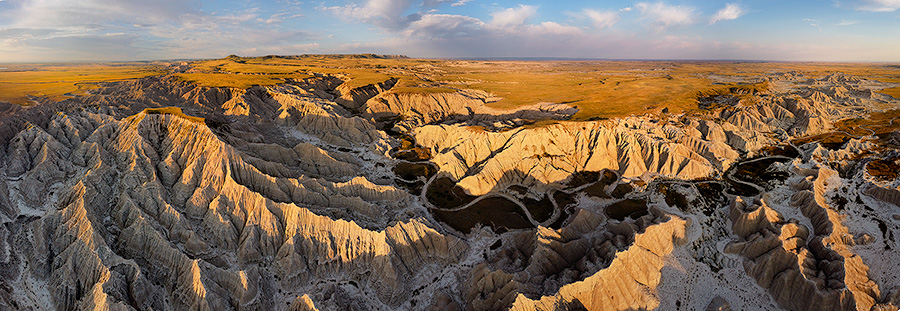Aerial drone scenic landscape photograph of the badlands Toadstool Geologic Park in western Nebraska. - Nebraska Photography