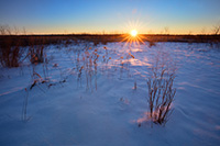 The sun rises on  a new year over the Prairie at Boyer Chute National Wildlife Refuge in eastern Nebraska. - Nebraska Landscape Photograph