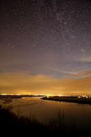 Stars shine brightly above the Missouri River at the Tri-State Overlook at Ponca State Park. - Nebraska Landscape Photograph
