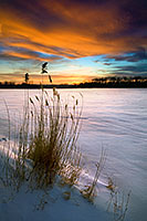 As the sun dipped below the horizon, the clouds lit up in the sky across the snow covered DeSoto Lake at DeSoto National Wildlife Refuge. - Nebraska Photograph