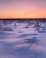 Evening descends on the cold, winter prairie at Boyer Chute National Wildlife Refuge near Ft. Calhoun, Nebraska. - Nebraska Photograph
