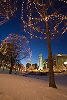Every year Omaha Celebrates the Holiday Lights Festival after Thanksgiving and during Christmas and New Years by putting lights up in the downtown area around Gene Leahy Mall. - Nebraska Photograph