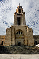 A view of the eastern face of the Nebraska state capitol building in Lincoln. - Nebraska Photograph