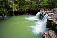 Water falls over Falling Water Falls just east of Pelsor (Sand Gap) Arkansas in the Ozark Mountains. - Arkansas Photograph