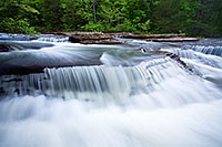 Water flows down six-finger falls in Northern Arkansas. - Arkansas Photograph