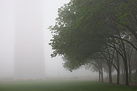 Through the thick fog the Gateway Arch in St. Louis is barely visible. - Missouri Photograph