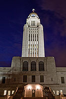 The Nebraska state capitol building in Lincoln at sunset on a cool spring evening.  This building houses the only state unicameral type government in the United States. - Nebraska Photograph