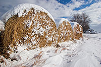 A white blanket of snow covers a row of hay bales in the country. - Nebraska Photograph