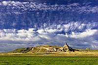 Chimney Rock in western Nebraska was a beacon for early settlers.  During the 19th century it served as a landmark along the Mormon Trail, Oregon Trail, and California Trail. - Nebraska Photograph