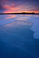 The former oxbow of the Missouri River, the oxbow at DeSoto National Wildlife Refuge is completely frozen on a frigid January evening. - Nebraska Photograph
