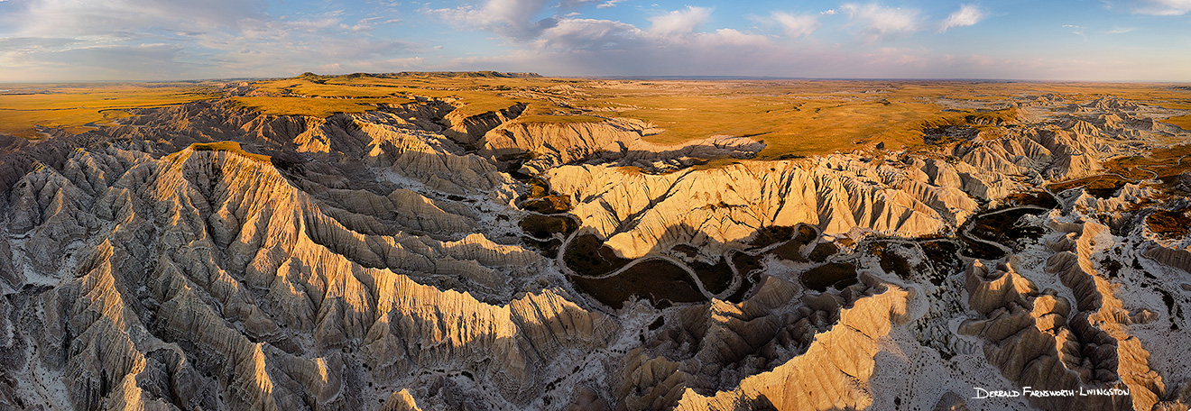 Aerial drone scenic landscape photograph of the badlands Toadstool Geologic Park in western Nebraska. - Nebraska Picture