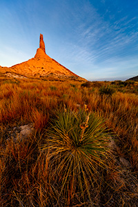 A scenic landscape Nebraska photograph of a sunset and Chimney Rock in western Nebraska. - Nebraska Photograph