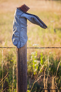 A common scene in western Nebraska, an old cowboy boot adorns a wooden fence at Ash Hollow State Park. - Nebraska Photograph