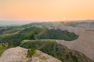 A Nebraska scenic landscape photograph of Fort Robinson State Park from a Bluff with wildlife smoke. - Nebraska Photograph