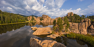 A panoramic photograph of Sylvan Lake in Custer State Park, South Dakota. - South Dakota Photograph