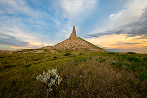 A scenic landscape Nebraska photograph of dusk at Chimney Rock in western Nebraska. - Nebraska Photograph