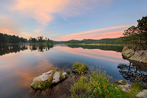 Scenic landscape South Dakota photograph of sunset at Stockade Lake in Custer State Park, Black Hills. - South Dakota Photograph