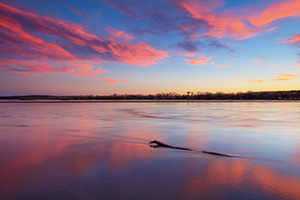 A beautiful autumn sunset over the Platte River Valley near Schramm Recreation Area. - Nebraska Landscape Photograph