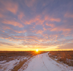 After a fresh snowfall the path through Boyer Chute is a white, pristine trail leading to the recently risen sun. - Nebraska Landscape Photograph