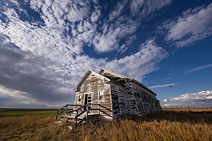 A scenic photograph of an old one-room schoolhouse in the pandhandle of Nebraska. - Nebraska Landscape Photograph
