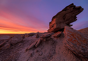 Scenic landscape photograph of a beautiful dawn over Toadstool Geologic Park in western Nebraska. - Nebraska Photograph