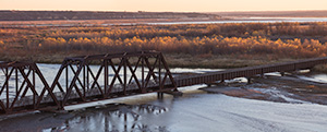 A photograph of the converted railroad trestle over the Niobara River in Northeastern Nebraska. - Nebraska Photograph