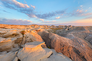 A scenic landscape photograph of the badlands Toadstool Geologic Park in western Nebraska. - Nebraska Photograph