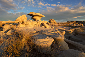 Scenic landscape photograph of Toadstool Geologic Park in western Nebraska at dusk. - Nebraska Photograph