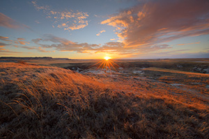 Scenic landscape photograph of a sunset over the prairie at Oglala National Grasslands. - Nebraska Photograph