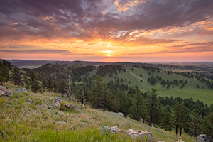 A scenic landcape photograph of a sunrise at Wind Cave National Park in western South Dakota. - South Dakota Photograph