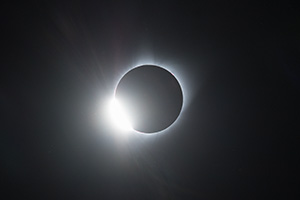The Diamond Ring of the Total Solar Eclipse captured over Agate Fossil Beds National Monument in Northwestern Nebraska. - Nebraska Nature Photograph