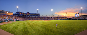 Game 14 of the 2010 College World Series, South Carolina competed against Clemson.  South Carolina went on to the win the game and the series, the last year of 60 total that the series was played at Rosenblatt Stadium.  This photograph is a combination of 4 exposures stitched together for detail. - Nebraska Photograph