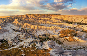 A drone scenic landscape photograph of the badlands Toadstool Geologic Park in western Nebraska. - Nebraska Photograph