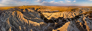 Aerial drone scenic landscape photograph of the badlands Toadstool Geologic Park in western Nebraska. - Nebraska Photograph