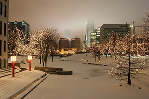 The Gene Leahy Mall in downtown Omaha lights up with the Holiday Lights Festival.  Every year Omaha hosts the Holiday Lights Festival and places 1 million holiday lights in the downtown area to celebrate. - Nebraska Photograph